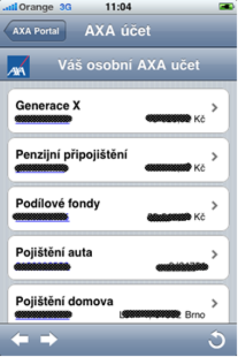 AXA pro klienty: iPhone aplikace AXA Manažer adalší