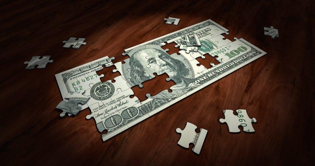 Peníze - bankovky - dolary - puzzle