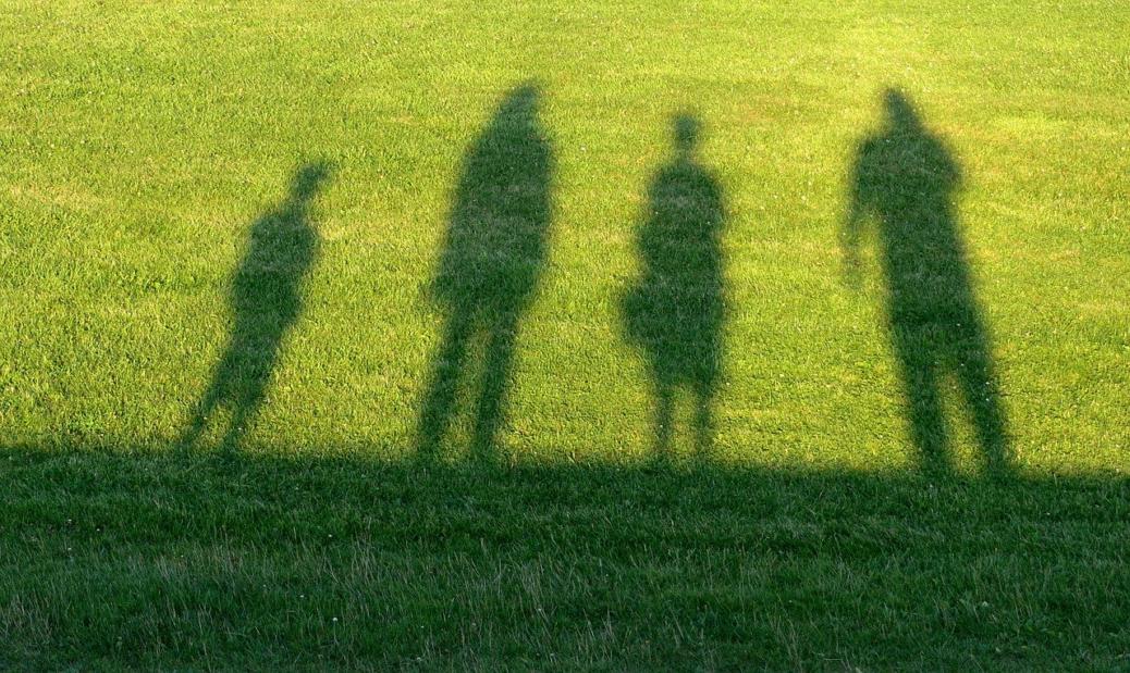 Rodina -stíny - tráva