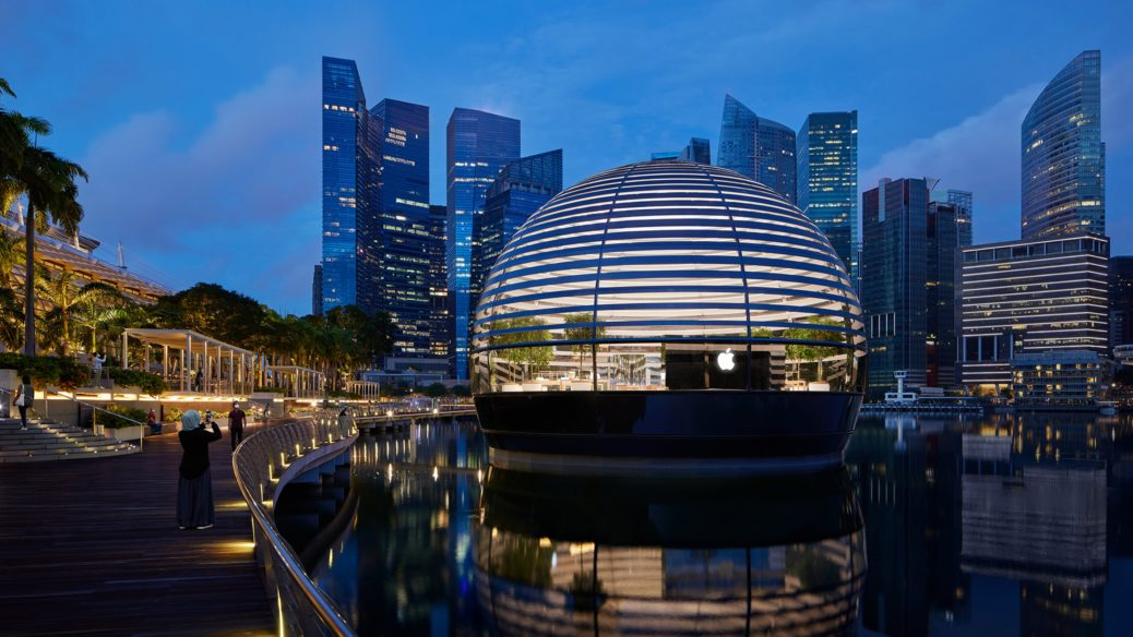 Appearing as a floating sphere, Apple Marina Bay Sands is the first Apple store to sit directly on the water.